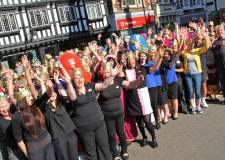 Around 100 people from businesses in Lincoln city centre donned their crowns to kick off the Great Magna Carta Weekend in Lincoln in  June. Photo: Emily Norton for The Lincolnite