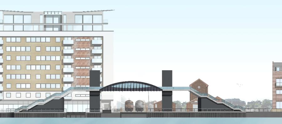 Revised plans for the Brayford level crossing footbridge.  Artist's impression: Stem Architects