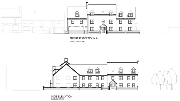 Front and side elevations of the proposed development