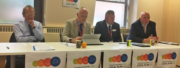 (L-R) City of Lincoln Council Leader Ric Metcalfe, Jeff Summers, Chair of the committee and Leader of West Lindsey District Council, Councillor Richard Wright, of North Kesteven District Council and Councillor Colin Davie, Executive Member for Economic Development at Lincolnshire County Council.