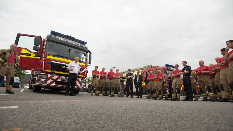 Lincolnshire Fire and Rescue team in Lincoln. Photo: Steve Smailes for The Lincolnite