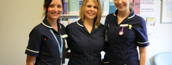 (Left to right) Respiratory nurses Laura Fowler, Kathryn Cope and Katie Sleight