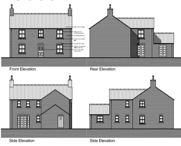 Front, rear and side elevations for the proposed homes. Photo: GraceMachin Planning & Property