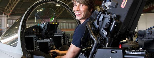 Professor Brian Cox in a RAF Coningsby Typhoon.