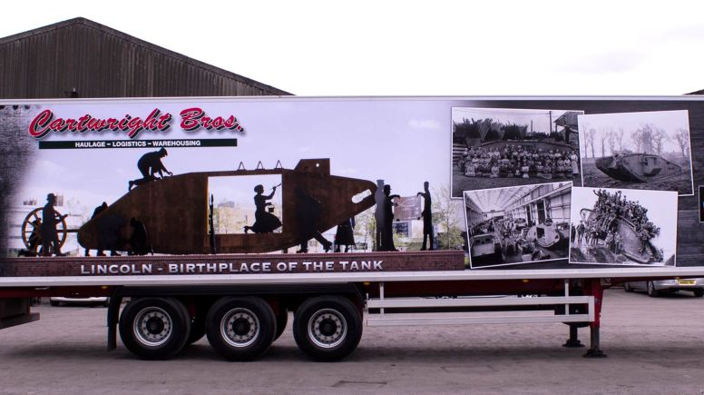 A giant advert for the Lincoln Tank Memorial will tour the UK on the side of a Cartwright Bros lorry.