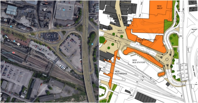 Before and after: The city centre landscape will change to accommodate the new Lincoln Transport Hub.