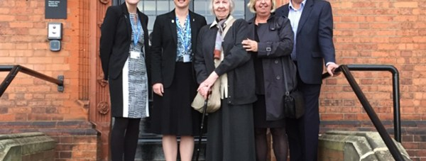 Photo: (L-R) Holly Pickering and Dr Rona Mackenzie from Lincoln UTC with Norah Johnson and her children Sally and Richard.
