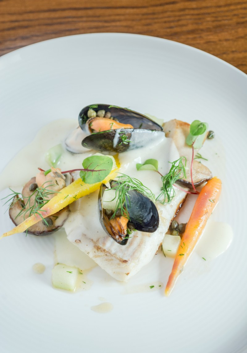Roast Turbot, Smoked Mussels, Capers, Wild Mushrooms and Yukon Gold Foam (as featured in the Lincolnshire Cook Book. ).