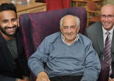 Alykhan Kachra, Managing Director of Country Court Care and Nick Chambers, Chief Executive of LACE Housing meet resident Geoff Foster, 86, at Eccleshare Court, Lincoln