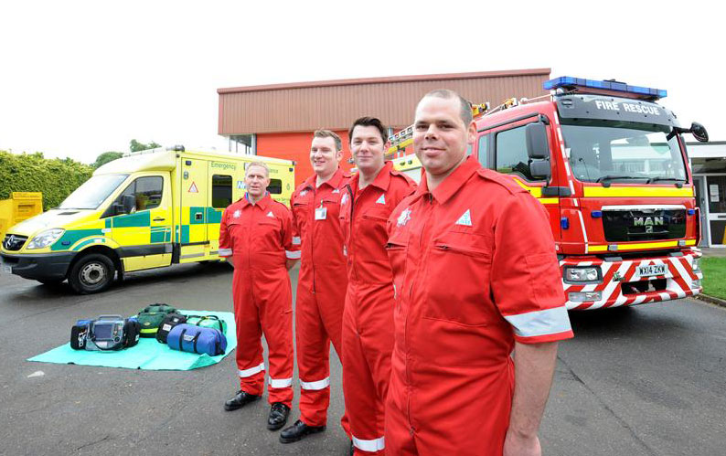 Fast response: Long Sutton firefighters (from left) Richard King, Darren Goult, Will Kirkham and Sean Gedney