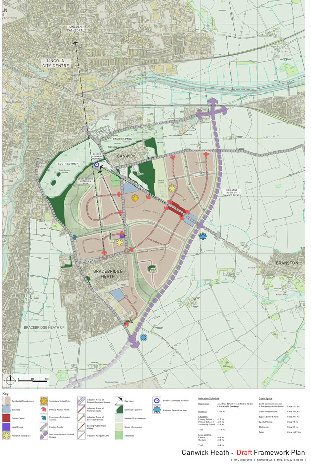A full map of the proposals and how they would fit in with the rest of Lincoln. Photo: North Kesteven District Council