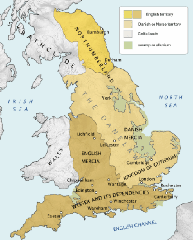 A map of the Danelaw.