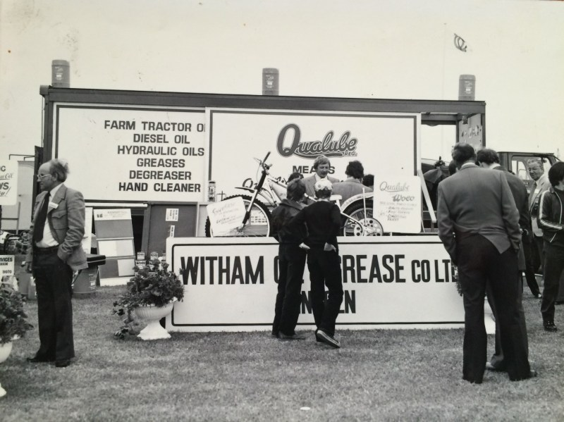 Geoff with Witham Oil and Grease at the Lincolnshire Show in the 1960s.