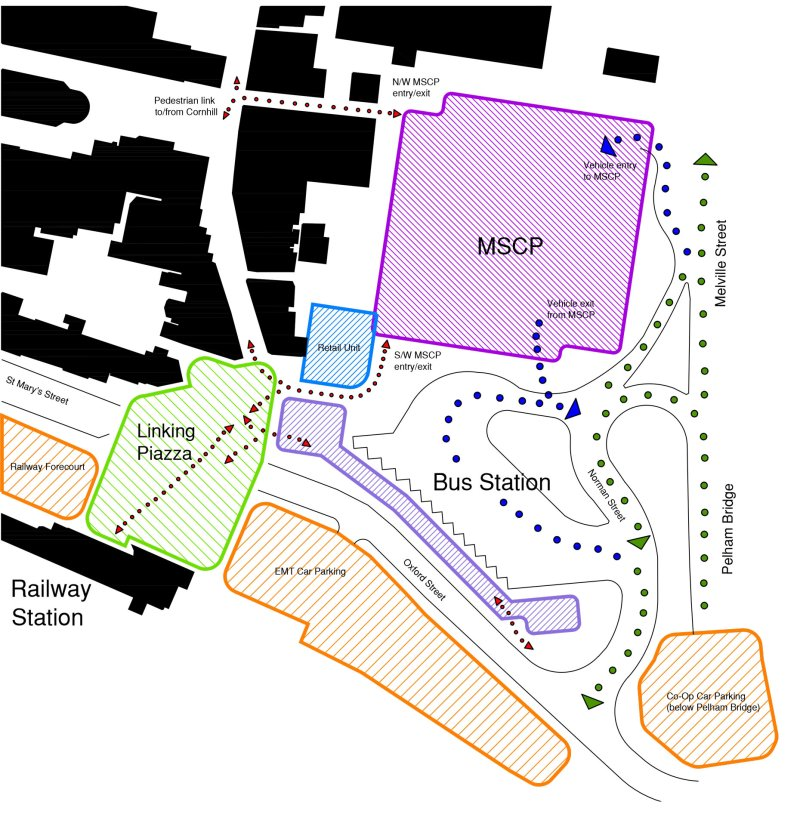 The revised Lincoln Transport Hub plans being considered by the City of Lincoln Council. (Click to enlarge)