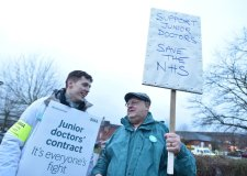 Chris Busby (left) with retired nurse Giles Wynne. Photo: Steve Smailes for The Lincolnite