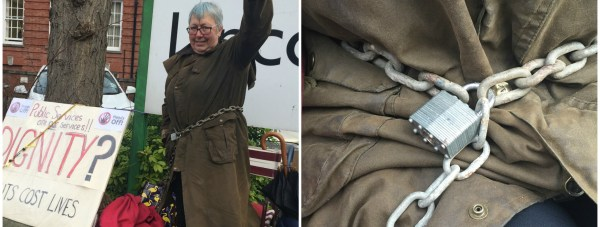 Elaine Smith chained her self to the Lincolnshire County Council sign in order to get her message out.