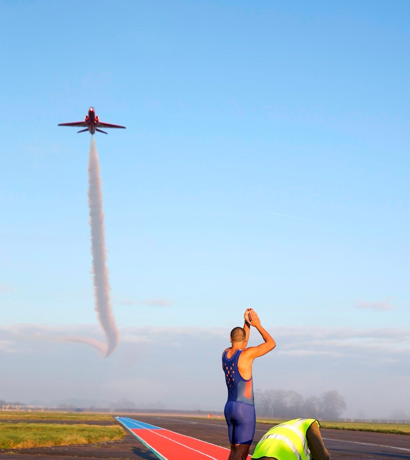 "ITV came to RAF Scampton over several days to film the new tv program ""Its Not Rocket Science"". British 200m runner Adam Gemili raced a Red Arrows Hawk aircraft over a 100m distance. Presenters Romesh and Rachel Riley watched from the side of the runway. Image created by SAC Gina Edgcumbe"