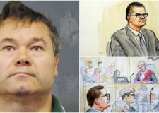 Jason Lawrance and artist's impressions of his court appearances. Photos: PA/NTI