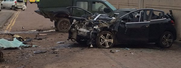 Police at the scene of the crash on Quebec Road in Mablethorpe. Photo: Lincolnshire Police