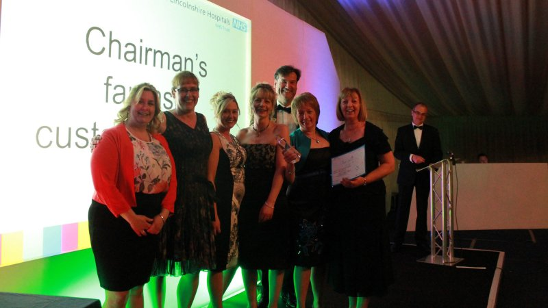 Chairman's fantastic customer service- Staff from Pilgrim pantry with Trust Chair Dean Fathers (back)