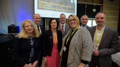 L-R: Frankie Sulke, Anthony Partington, Debbie Barnes, Gavin Booth, Heather Sandy, Professor Mel Ainscow CBE and Anton Florek Photo: Steve Smailes for The Lincolnite