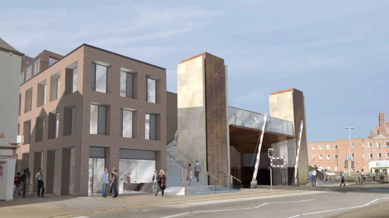 The buildings will front Lincoln High Street, adjacent to the ongoing Lincoln High Street level crossing footbridge. Artist impressions: Stem Architects