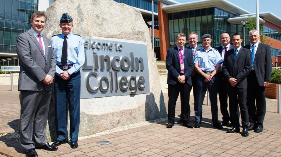 AVM Knighton was joined by representatives from Raytheon, AAR Corp and BAE Systems, some of the Career College's other official air and defence supporters. Photo: Lincoln College