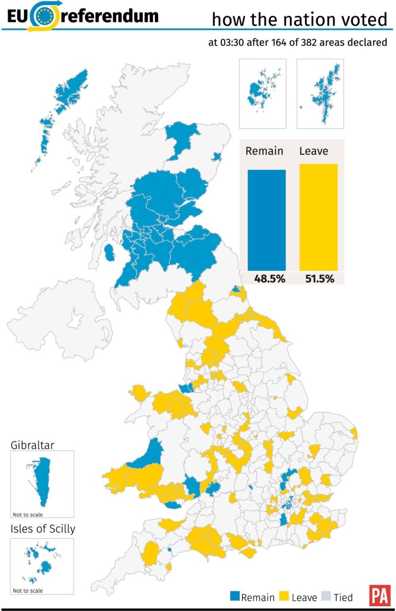 how the uk voted so far