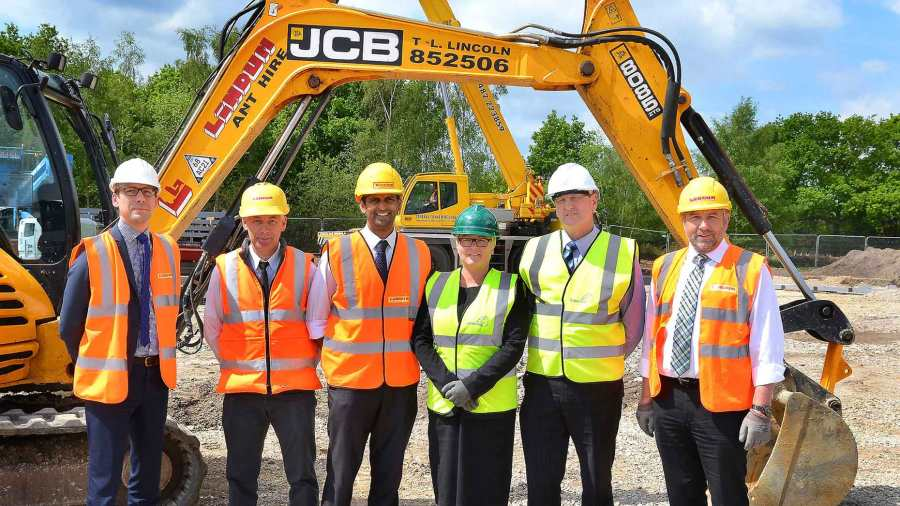 Banks Long & Co Director William Wall, Lindum Construction Site Manager Dave Asquith, Lindum Developments Development Manager Mitul Shah, Greenray Finance Director Alison Higher, Greenray Chief Operating Officer Norman Davies and Lindum Construction Managing Director Simon Gregory