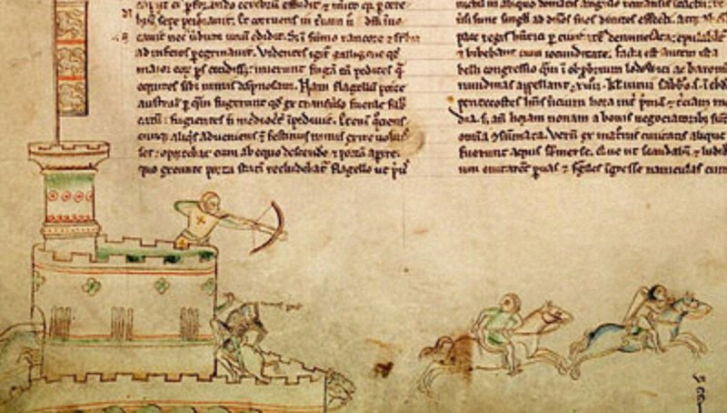 Medieval manuscript showing the the battle.