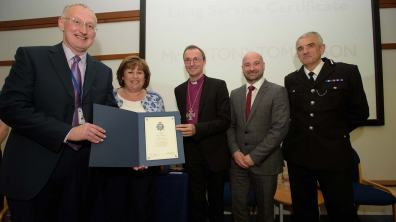 Antony Tomlinson was awarded the 20-Years Long Service Certificate. Photo: Steve Smailes for The Lincolnite