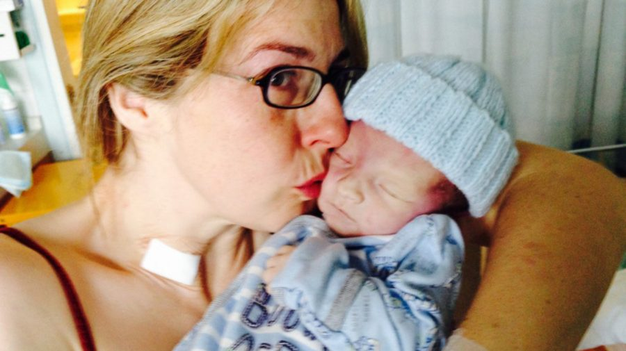 Thor sadly died shortly after his birth. Pictured with his mother Michelle.