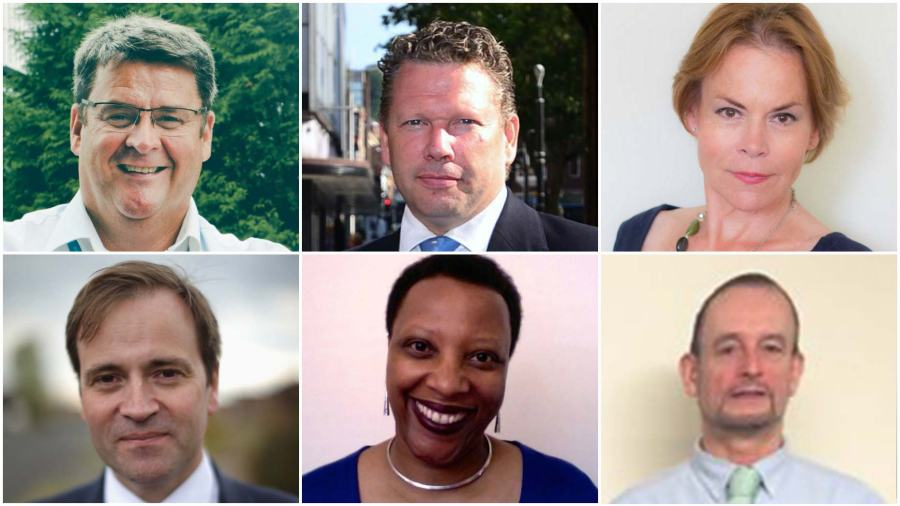 The six panelists in the #LincsEUDebate: (top) Finbarr Dowling, Karl McCartney and Victoria Ayling (bottom) David Prescott, Sue Liburd and Peter Davis