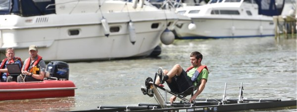 Guy Martin testing the Lincoln-desgined hydrofoil on Brayford Pool. Photo: Steve Smailes for The Lincolnite