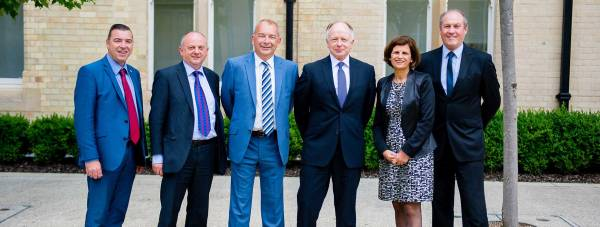 Professor Ieuan Owen, Deputy Vice Chancellor at the University of Lincoln (right) with other Midlands' university leaders.