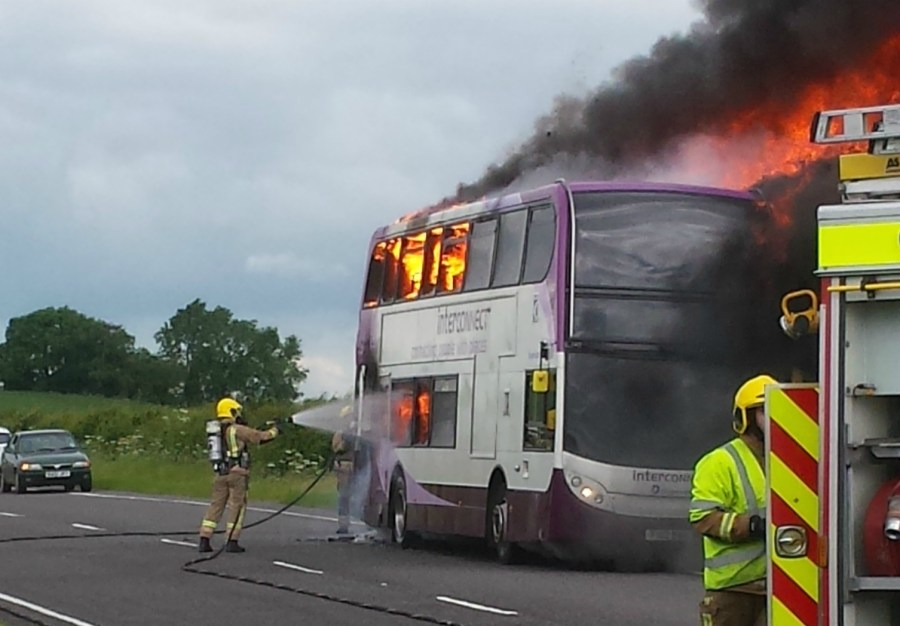 The bus caught fire at around 10am on Friday, July 1.