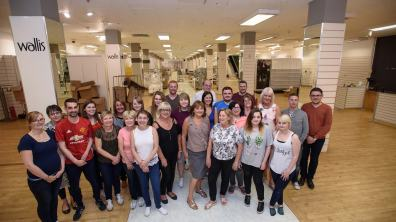 Staff at BHS on Lincoln High Street are sad to say goodbye but are glad to have worked as a team. Photo: Steve Smailes for The Lincolnite