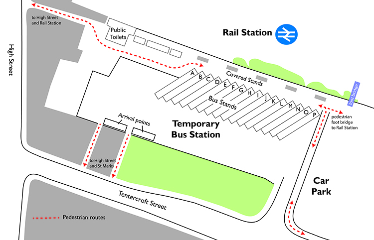 A plan for the temporary bus station. Photo: Stagecoach