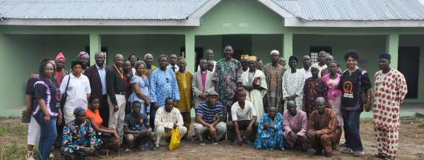Charity members, farmers and beneficiaries at the new farming and training facility in Nigeria. Photo: SFM