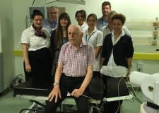 Patient Peter Walmsley with the team who carried out his brachytherapy treatment. Photo: Lincolnshire Hospitals NHS Trust