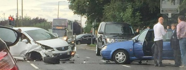 Up to three vehicles have been involved in the crash in Bracebridge Heath.