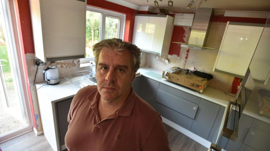 Neil Richardson, friend of kitchen owner Lee Holland has tried to contact Wren Kitchens on several occasion to rectify the issue. Photo: Steve Smailes