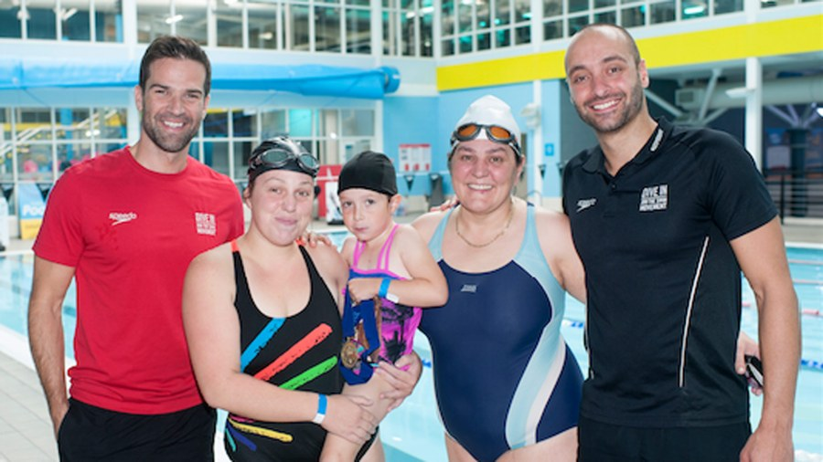 Grandma Eileen, daughter Gemma and granddaughter Isla from Lincoln joined by Gethin Jones and James Goddard.