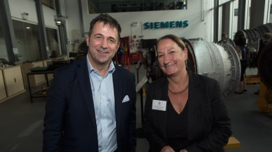 Siemens UK CEO Juergen Maier and University of Lincoln Vice Chancellor Mary Stuart. Photo: Steve Smailes for The Lincolnite