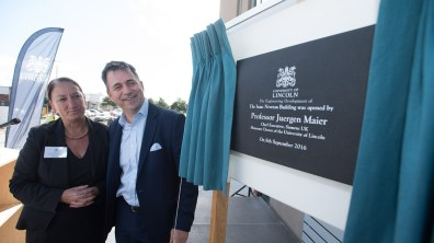 Mary Stuart with Juergen Maier at the opening of the engineering hub expansion. Photo: Steve Smailes for The Lincolnite