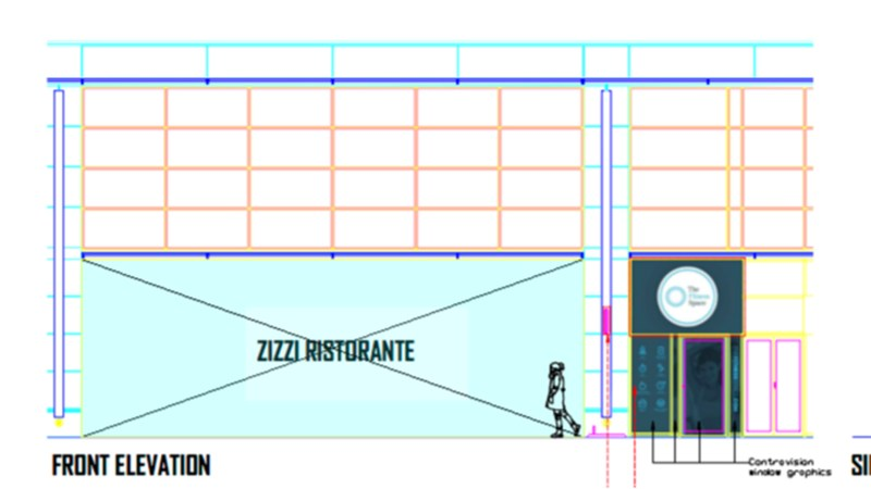 The new gym would be accessed via a door next to Zizzi