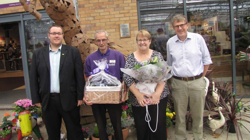 William Pennell, Managing Director, Trevor Smith and his wife and Richard Pennell, Chairman of Pennell's Garden Centre