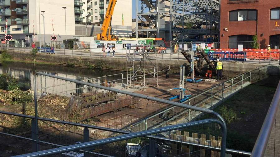 Final work is now taking place to tidy up the area where the bridge was demolished. Photo: The Lincolnite.