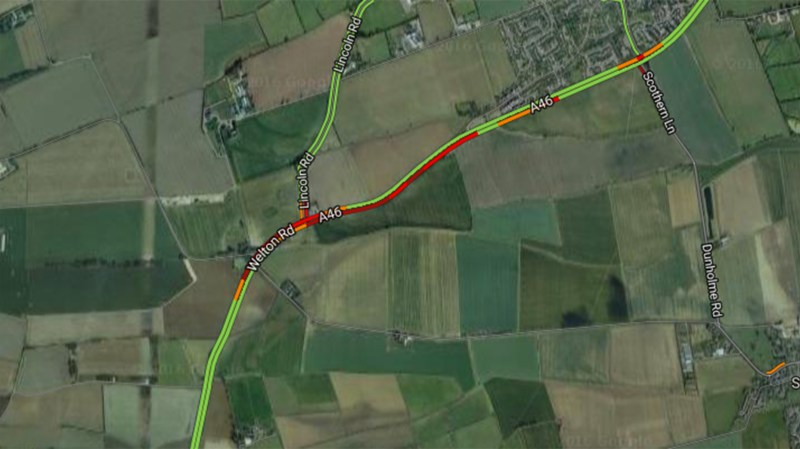 Significant delays on the A46 near Welton.