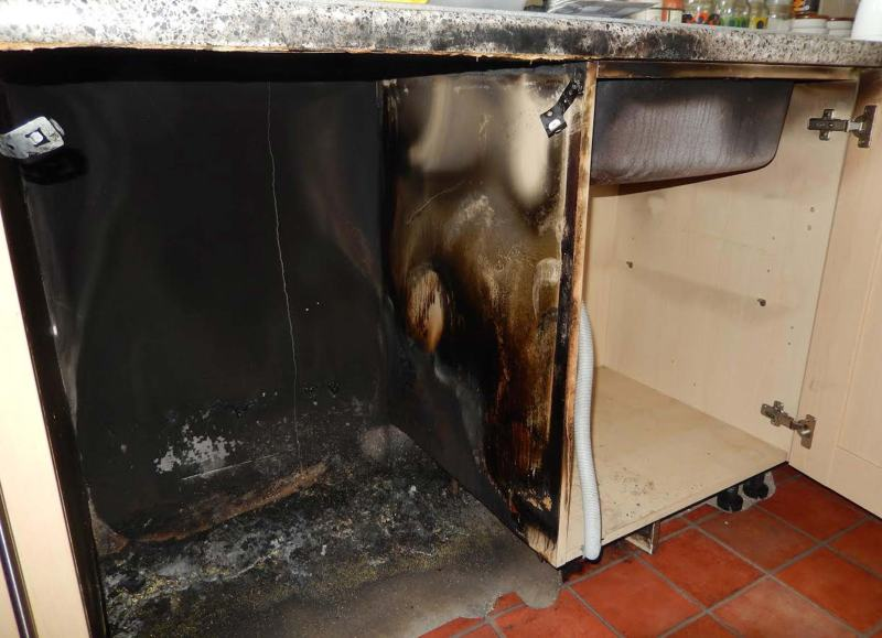 There was serious damage to the homeowner's kitchen.